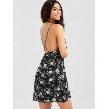 Criss Cross Backless Floral Print Dress - BLACK BLACK