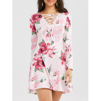 Floral Print Long Sleeve Criss Cross Dress