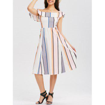 Striped Skew Shoulder Ruffle Dress