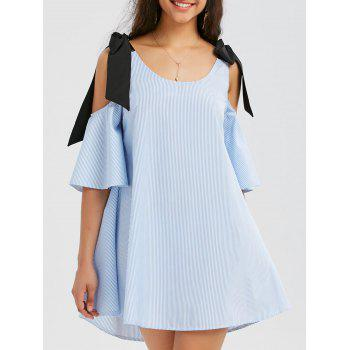 Cold Shoulder Striped Mini Trapeze Dress
