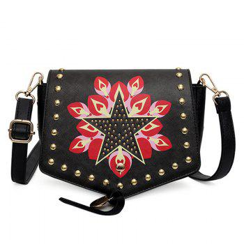 Printed Flap Studded Crossbody Bag