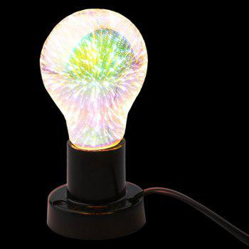 3D Colorful Fireworks LED Glass Night Light Bulb