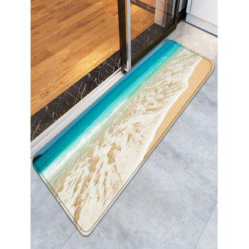 Water Absorption Flannel Beach Print Bathroom Rug