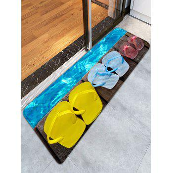 Slippers Wood Grain Skidproof Flannel Bathroom Rug