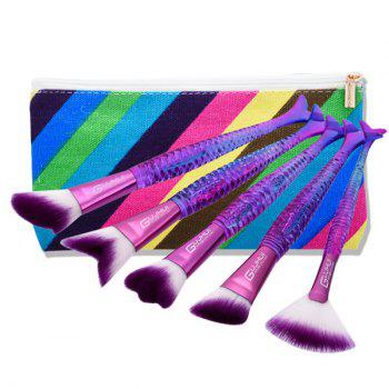 Portable Mermaid Tail Makeup Brushes Set With Brush Bag