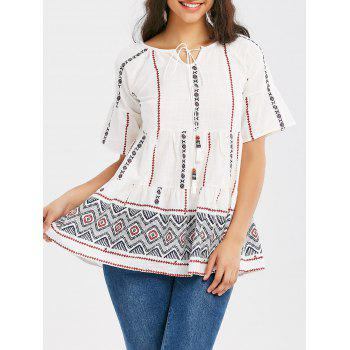 Bell Sleeve Tribal Print Tassel Blouse
