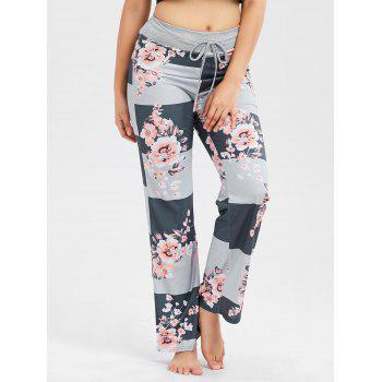 Striped Floral Print Drawstring Pants