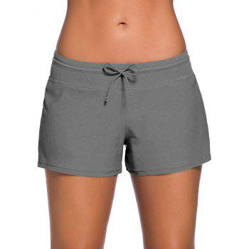 Drawstring Swimming Boyshort - GRAY GRAY