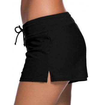 Drawstring Swimming Boyshort - BLACK S