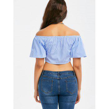 Off The Shoulder Lace-up Stripe Crop Top - S S