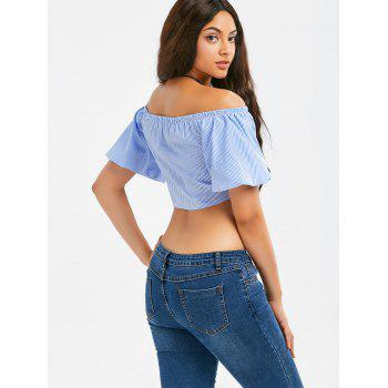 Off The Shoulder Lace-up Stripe Crop Top - BLUE BLUE