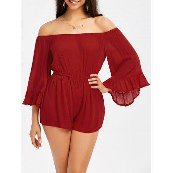 Off The Shoulder Ruffle Trim Bell Sleeve Romper