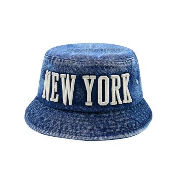 Letters Embroidery Flat Top Denim Bucket Hat - DEEP BLUE DEEP BLUE