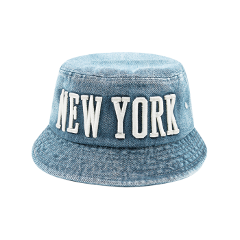 Letters Embroidery Flat Top Denim Bucket Hat
