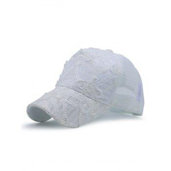 Lacework Sequin Mesh Splicing Baseball Hat - WHITE WHITE