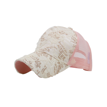Lacework Sequin Mesh Splicing Baseball Hat -  PINK