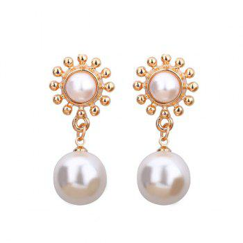 Artificial Pearl Sun Shaped Drop Earrings