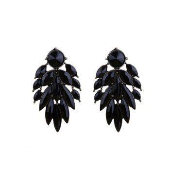 Vintage Alloy Faux Gem Leaf Earrings