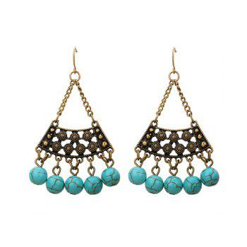 Artificial Turquoise Tribal Triangle Hook Earrings