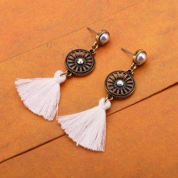 Rhinestone Vintage Circle Tassel Earrings