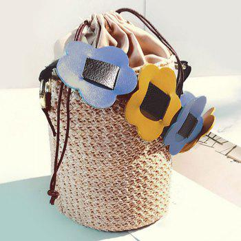Casual Woven Drawstring Beach Bucket Bag -  OFF WHITE