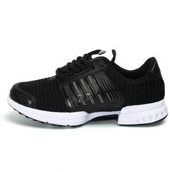Mesh Breathable Faux Leather Insert Athletic Shoes - BLACK BLACK