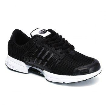 Mesh Breathable Faux Leather Insert Athletic Shoes - BLACK 42