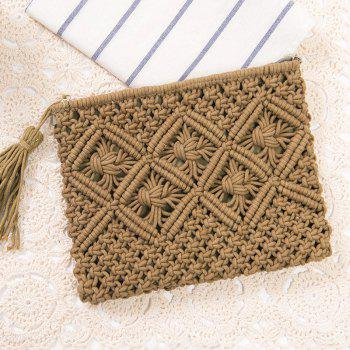 Crochet Tassel Clutch Bag - ARMY GREEN ARMY GREEN