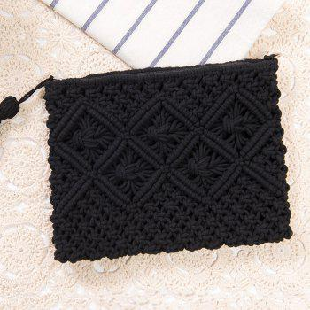 Crochet Tassel Clutch Bag - BLACK BLACK