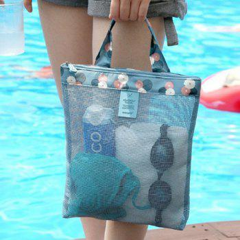 Print Mesh Insert Beach Tote Bag -  BLUE