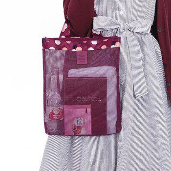 Print Mesh Insert Beach Tote Bag - PURPLE PURPLE