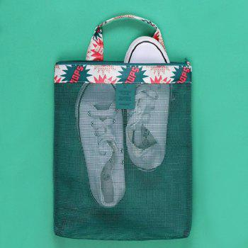 Print Mesh Insert Beach Tote Bag -  GREEN