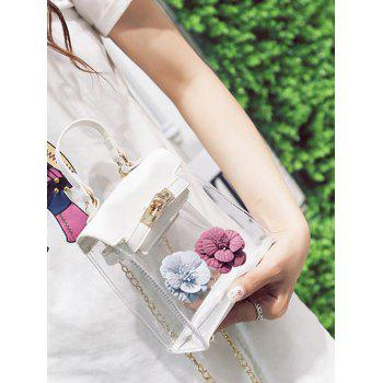 Flower Mini Shoulder Clear Handbag -  WHITE