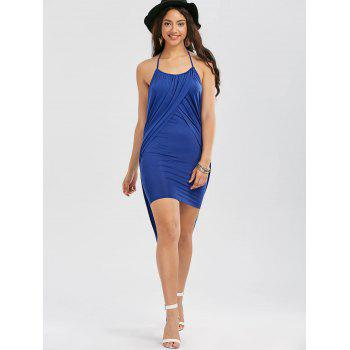 Halter Neck Overlap High Low Hem Dress - BLUE L