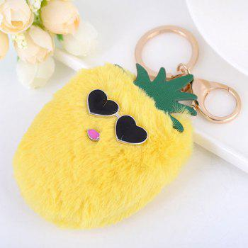 Heart Fuzzy Pineapple Key Chain - YELLOW