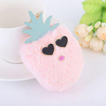 Heart Fuzzy Pineapple Key Chain - PINK PINK