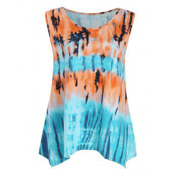 Plus Size Tie Dye Printed Asymmetric Tank Top