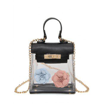 Flower Mini Shoulder Clear Handbag - BLACK BLACK