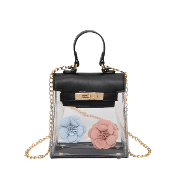 Flower Mini Shoulder Clear Handbag -  BLACK