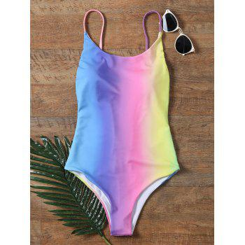 Colorful Backless One Piece Ombre Swimwear