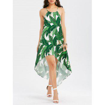 High Low Dress with Palm Leaf Print