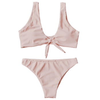 Knotted Scoop Neck Bikini Set - PINK S