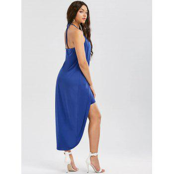 Halter Neck Overlap High Low Hem Dress - BLUE 2XL