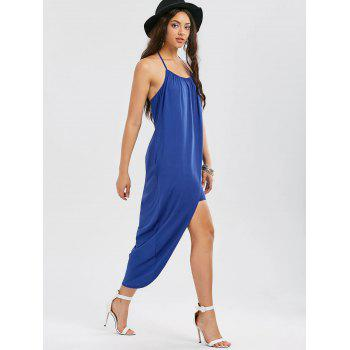 Halter Neck Overlap High Low Hem Dress - BLUE BLUE