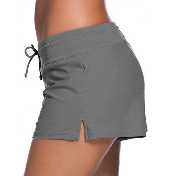 Drawstring Swimming Boyshort - GRAY XL