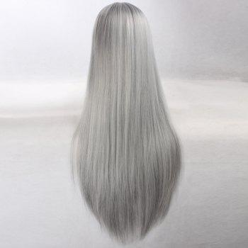 Ultra Long Naruto Cosplay Side Bang Layered Straight Synthetic Anime Wig - SILVER GREY