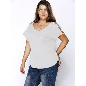 Plus Size Ripped Sleeve V Neck T-Shirt - WHITE 6XL
