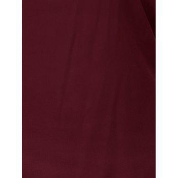 Plus Size Ripped Sleeve V Neck T-Shirt - WINE RED 2XL