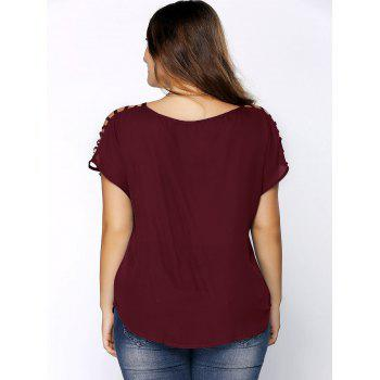 Plus Size Ripped Sleeve V Neck T-Shirt - WINE RED XL