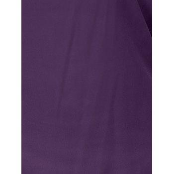 Plus Size Ripped Sleeve V Neck T-Shirt - PURPLE 4XL